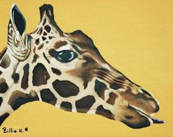 Giraffe Painting, Original Fine Art, Painting on Canvas, Giraffe Artwork, Zoo Animal Painting