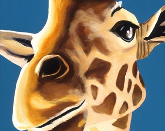 Giraffe Painting, Canvas Wall Art. Blue Baby Room Artwork, Children's Room. Safari Nursery Art, Zoo Animal, OOAK, Boys Nursery Art