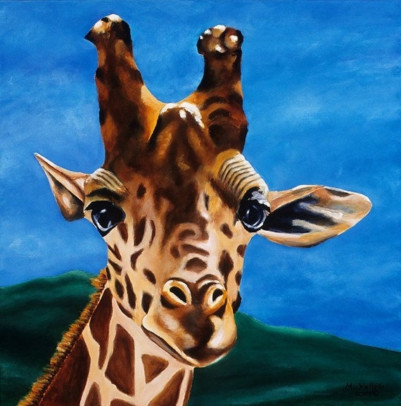 Giraffe Painting - Limited Edition Children's Room Giclee  Titled: What's Up