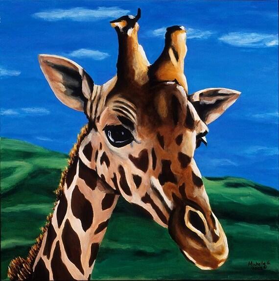 Giraffe Giclee Artwork. Limited Edition Kid's Room Canvas Wall Art. Children's Playroom, Apartment Decor. Living Room Artwork, Safari Theme