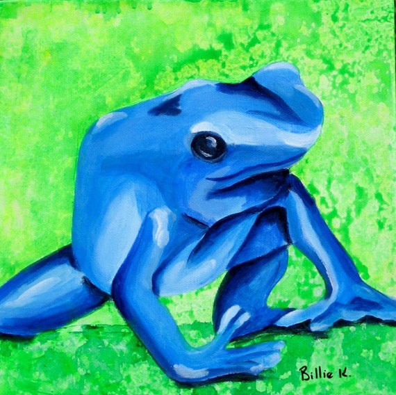 Original Childrens Room Fine Art Painting - Blue and Green Poison Dart Frog, Girls Boys Nursery Decor