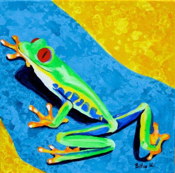 Climbing Tree Frog Art. Lime Green Frog. Kid's Room Art