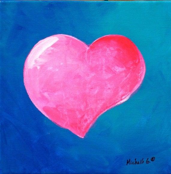 Kids Room Canvas Art - Pink Heart with Blue Background, Girls Boys Nursery Decor