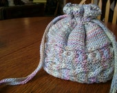 Multicolored Cable Knitted I-Cord Drawstring Bag