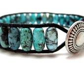 Beaded Leather wrap bracelet, genuine turquoise drum beads, southwest style, bohemian style