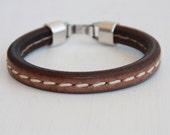 Regaliz Men's brown greek leather bracelet Industrial modern antique silver