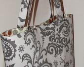 Everyday Tote Bag - Amy Butler Nigella Twill in Wood Fern Silver