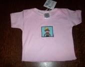 Sock Monkey Applique Pink Newborn T-shirt