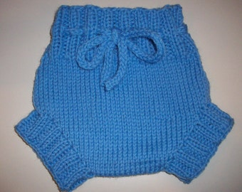 Wool Cloth Diaper Cover - Light Blue Newborn to Small Baby Handknit Wool Soaker  with Knit Drawstring