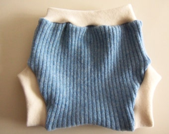 Wool Diaper Cover -  Recycled Light Blue Lambswool and Interlock Wool Diaper Soaker - Large