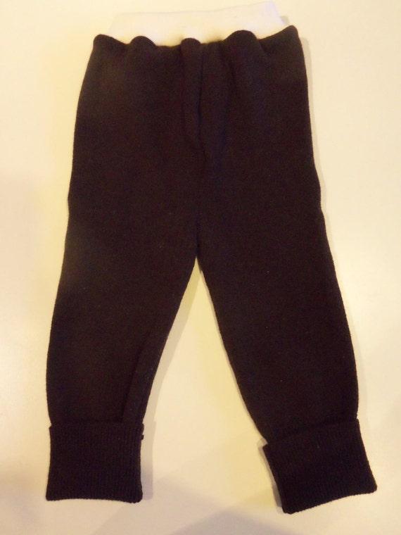 Diaper Cover Wool Longies - Stretchy Brown Recycled Merino Wool and Cream Interlock Wool Longies