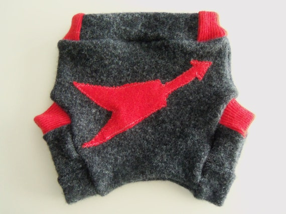 Flying V Guitar Recycled Wool Soaker Diaper Cover or Shorties for Your Rock'n'Roll Baby