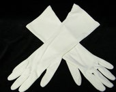 Vintage 13 Inch 1960's White Gloves, One Size Fits All