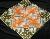 Vintage 1940's Orange and Brown Fall Abstract Trees and Flowers Handkerchief, 5615