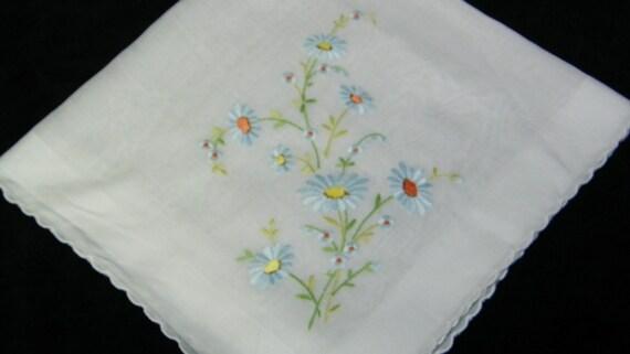 Vintage Embroidered BLUE DAISY FLORAL Bridesmaid Wedding Hankie, Handkerchief