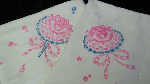 Vintage Pair Pink and Blue Hand Embroidered Flower Bouquet Pillowcases