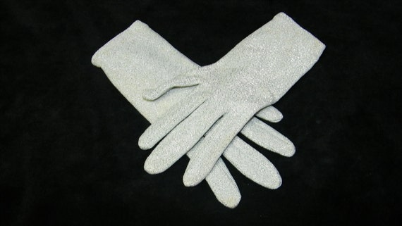 Vintage 1960's Silver Glittery Ladies Evening Dress Gloves, Size 6-6 1/2 , No. 6438