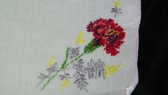 "Vintage 10 1/2"" Petit-Point Embroidered Red Carnation Floral Wedding Handkerchief, 6556"