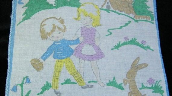 Vintage  50's Childs Childrens Hankie-Children Walking to School  With Bunny Rabbit,  7152