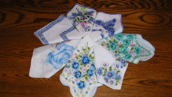 Vintage Lot of 7 Blue Floral Blank Center Screenprinting or Quilting Handkerchiefs -ALL PERFECT-7219