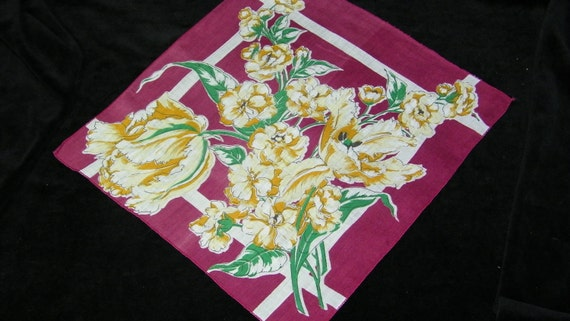 """Stunning Vintage 11"""" Yellow Floral on Cranberry Quilting Wedding Favors Handkerchief, 7233"""