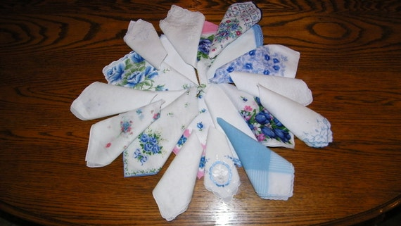 Gorgeous Vintage 40's and 50's Lot of 20 Brides on Budget BLUE Floral Wedding Handkerchiefs, PERFECT, 7267