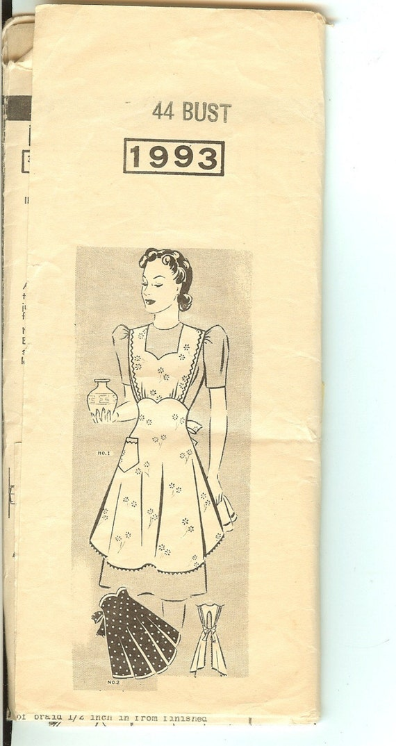 Vintage Apron Pattern No. 1993 Full or 1/2 Size - 1940's