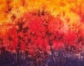 Autumn Sunset Hand Dyed Cotton Fabric 1 yard