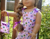 2 pc purple flower print dress made for the 18 inch American girl doll
