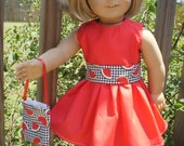 Red dress and purse made for the 18 inch American Girl Doll