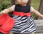 """15"""" Baby Doll Dress, zebra print dress with red bloomers and red sash and bow, american made girl doll clothes, sassy doll creations"""