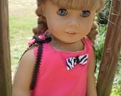 Zebra Pink & black pant set fits American girl or Bitty Baby doll