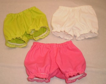 "18"" doll panties, 3 pair bloomers, 18"" doll underwear, Pink white green, toys dolls accessories, handmade doll clothing"