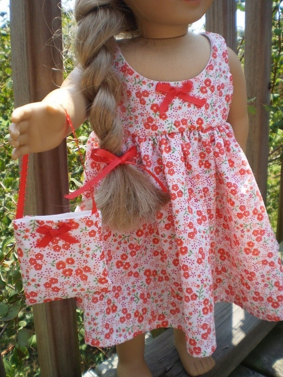 2 pc flower print dress made for the 18 inch American Girl Doll