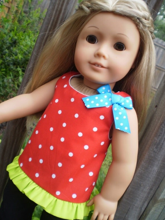 """18"""" doll clothes american girl or bitty baby Red and Black pant set"""