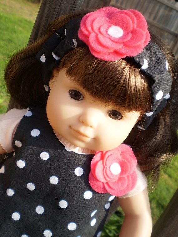 Bitty Baby doll clothes pant set black and white polka dot with headband