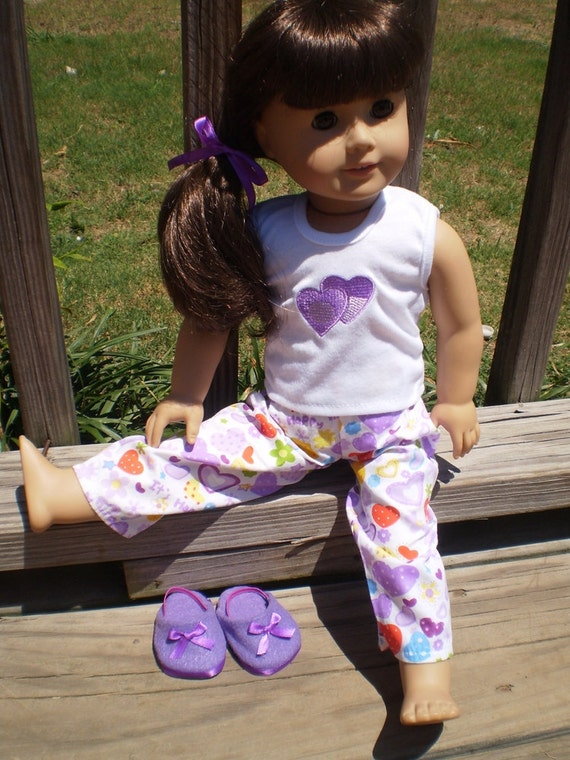 Purple heart pajama set with house shoes American Girl or bitty baby doll