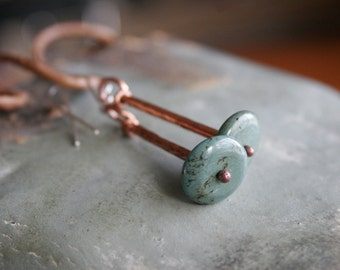 Earrings Handmade From Copper and Turquoise