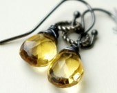 Citrine gemstone briolette and oxidized sterling silver earrings - Solar flare