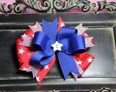 Star Spangled Banner Triple Layer Hairbow