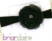Hazel - Black Rhinestone Flower Nylon Headband