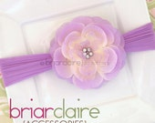 Capri - Lavender Rhinestone Center Flower Nylon Headband