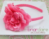 Melody - Hot Pink Headband with a Hot Pink Rose