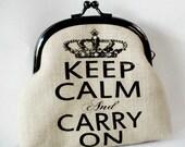 "Screent Print Frame Purse ""Keep Calm And Carry On"""