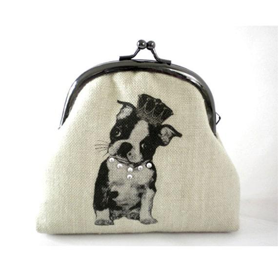 "Screen Printed Frame Purse ""Boston Terrier"""