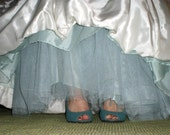 Aqua Blue Crinoline -- Tulle Skirt  -- A Line, Extra Full, Mermaid----  Pink, Green, Yellow, Purple, Blue MORE COLORS AVAILABLE