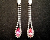 Pink and Diamond Rhinestone Vintage Glam Dangle Earrings