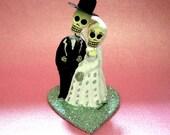 Aqua Blue Day of the Dead Cake Topper - Wedding Cupcake Topper