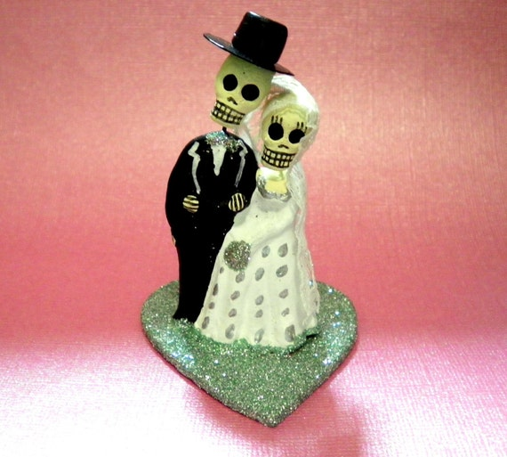 Aqua Blue Day of the Dead Cake Topper - Wedding Cupcake Topper