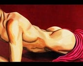 Male Reclining Nude Sensual Figure Art Print - 11 x 14 - Sweet Surprise
